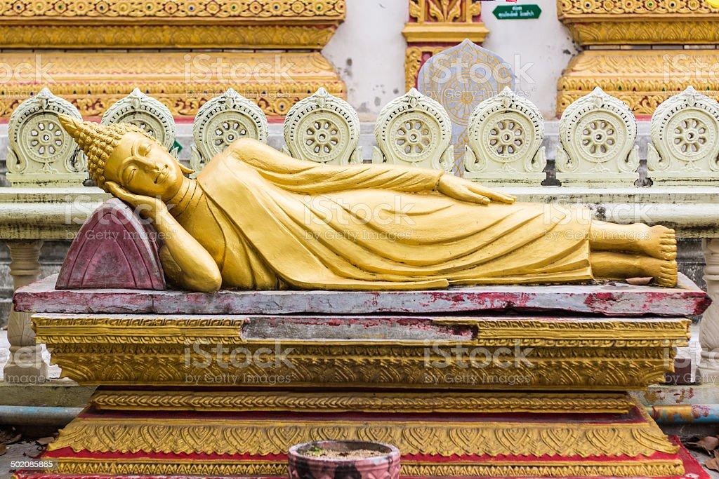 Thai Reclining Buddha Statue stock photo