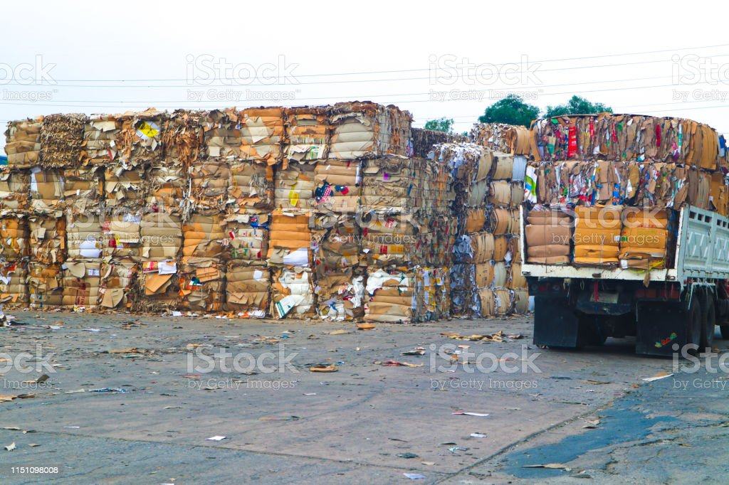 Thai recycle industry cardboard garbage and paper waste after...