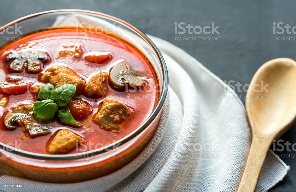 Thai red chicken curry stock photo