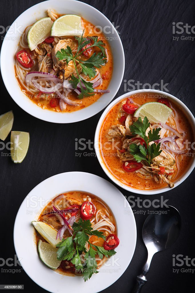 Thai red curry soup stock photo