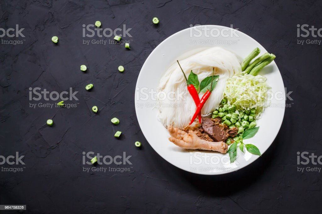 Thai rice vermicelli noodle with chicken curry and vegetable on Table. royalty-free stock photo