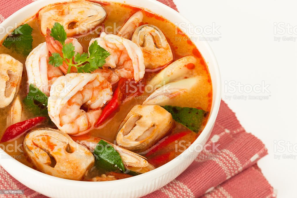 Thai seafood soup stock photo