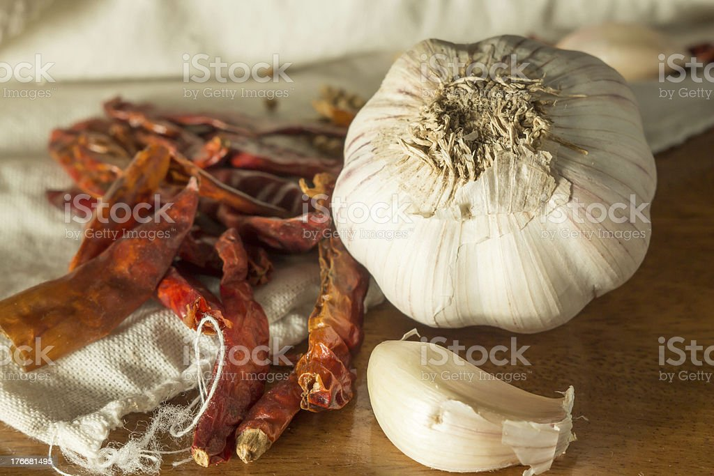 Thai seasoning, garlic and chili. royalty-free stock photo