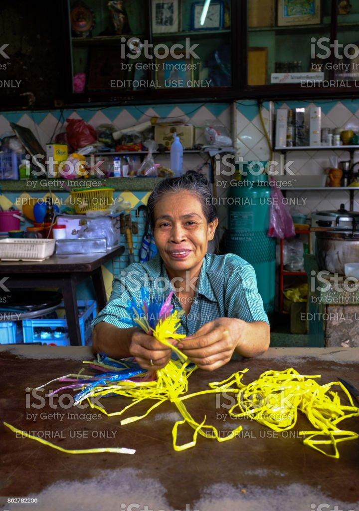 Thai Shop Owner, Chinatown, Bangkok, Thailand stock photo