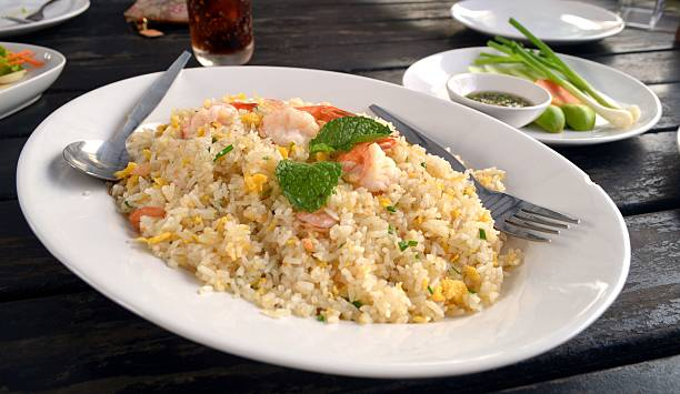 Thai shrimp fried rice old fashioned style thai food stock photo