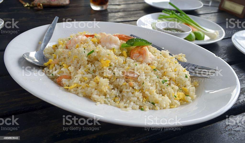 Thai shrimp fried rice old fashioned style thai food stock photo