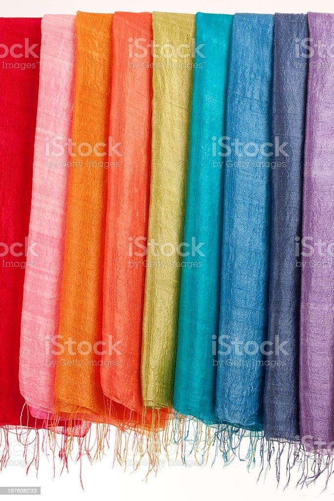 Thai silk scarves. royalty-free stock photo