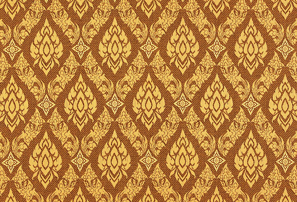 thai silk traditional motif background. - thai culture stock photos and pictures