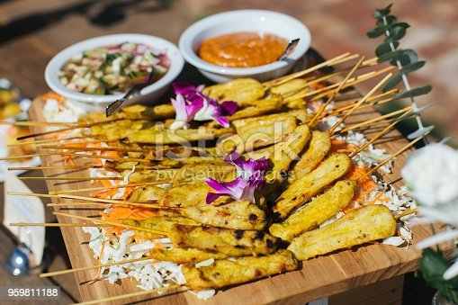 Chicken skewers outdoors