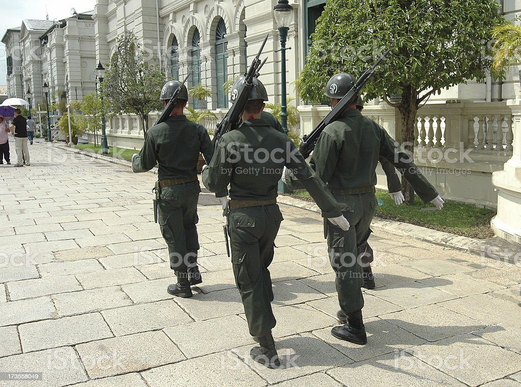 Thai soldiers marching royalty-free stock photo
