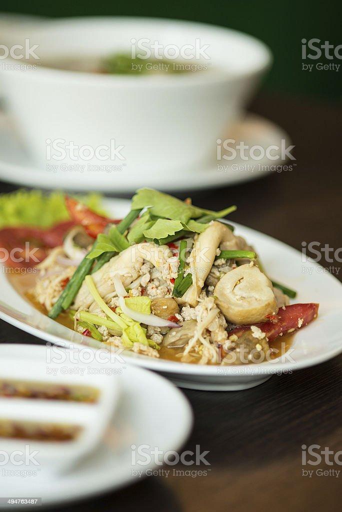 Thai spicy Mushroom  Volvariella  salad royalty-free stock photo