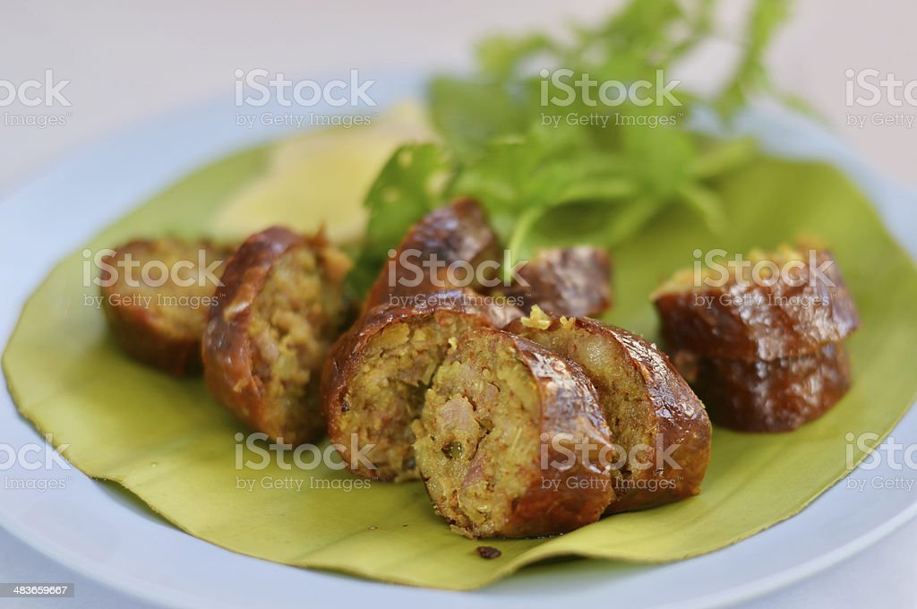 Thai spicy sausage royalty-free stock photo