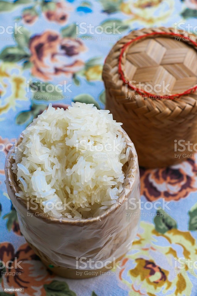 Thai sticky rice in bamboo container stock photo