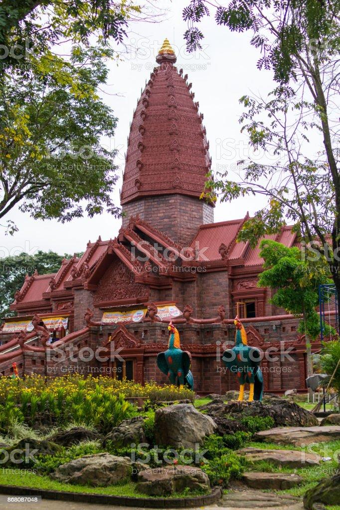 Thai stone castle. thai temple khmer style. Sisaket Province.wat pripattana stock photo