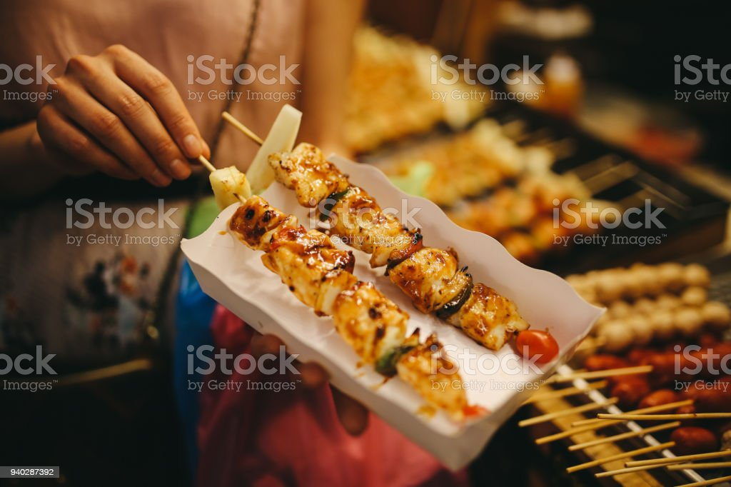 Thai street food - chicken grill barbecue stock photo