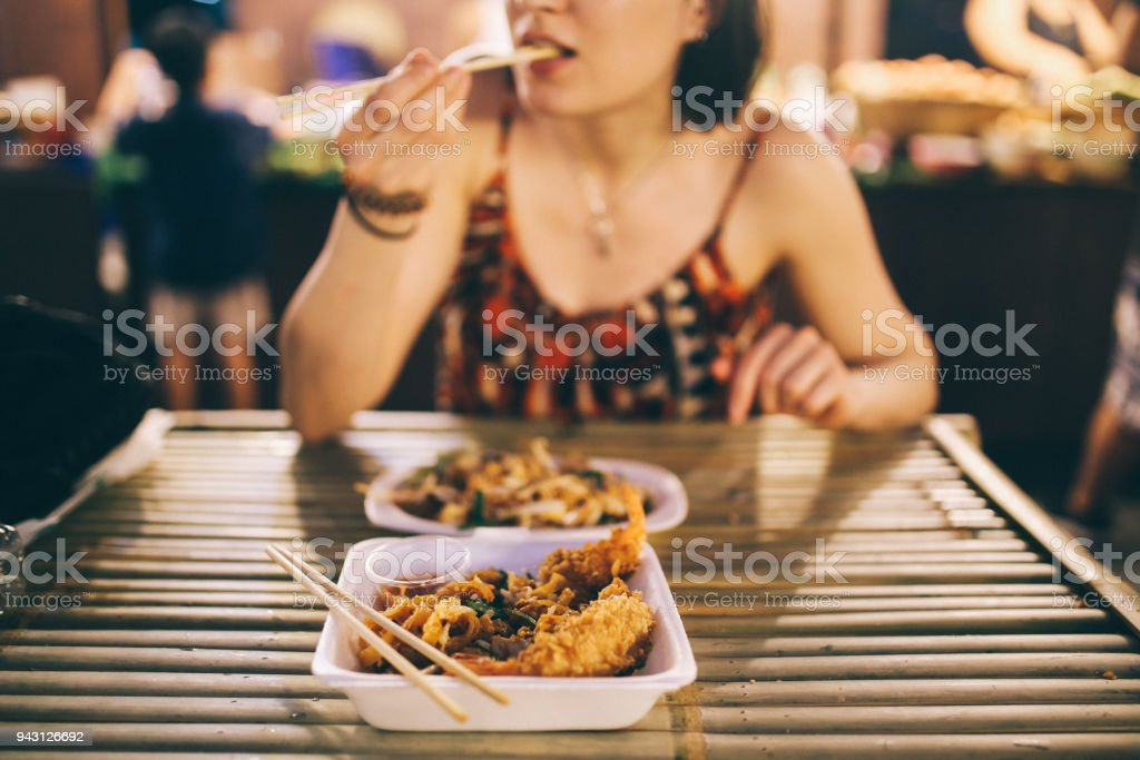 Thai street food in Bangkok, shrimp tempura with vegetables stock photo