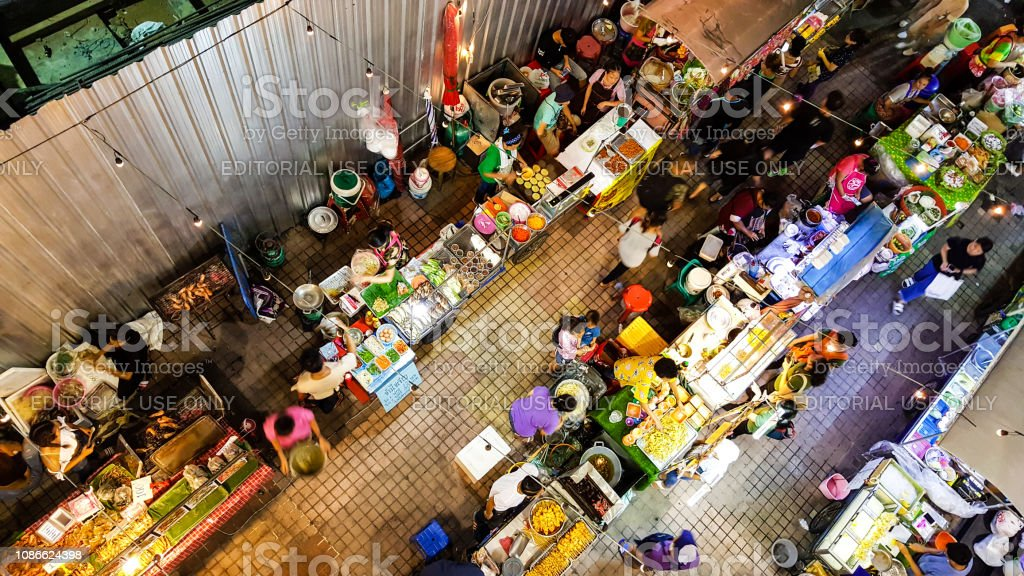 Thai Street Food Vendors In The Night Stock Photo - Download