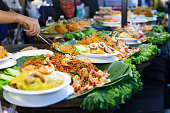 Thai street foods, Thai foods style Rice and Curry at market Bangkok of Thailand.