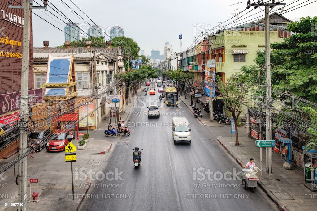 Thai street with traffic jams stock photo