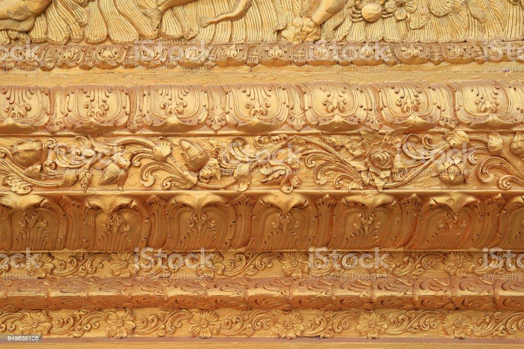 thai style bas relief stock photo