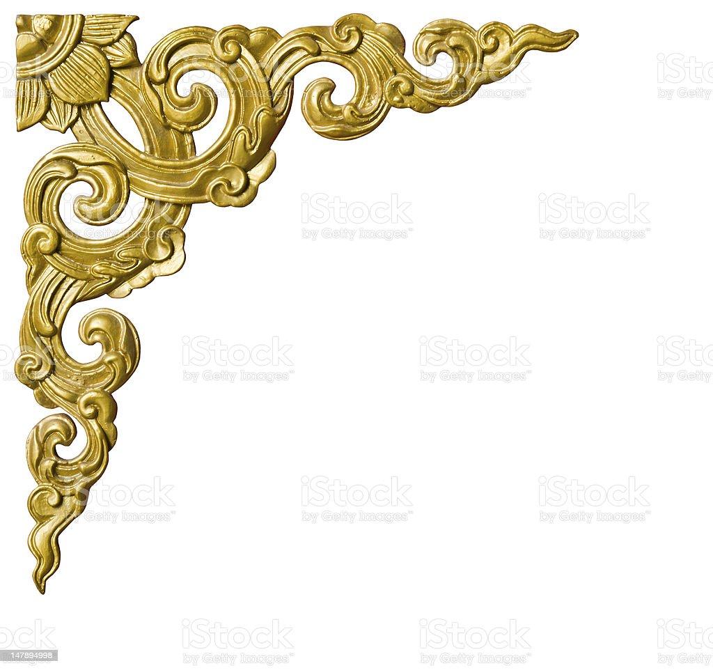 Thai style corner border pattern in gold stock photo