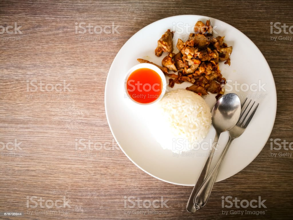 Thai style food, pork fried with crunchy garlic royalty-free stock photo