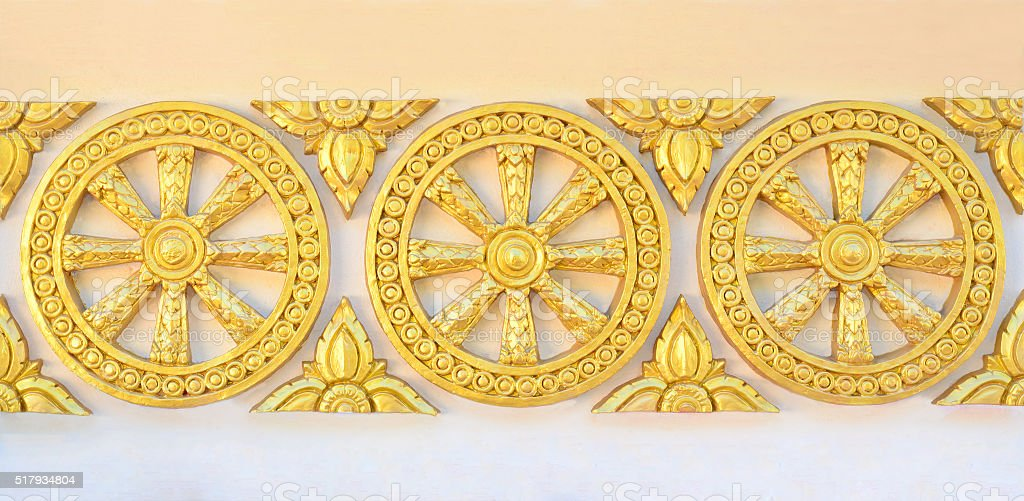 Thai style golden wheel of life pattern on temple wall stock photo