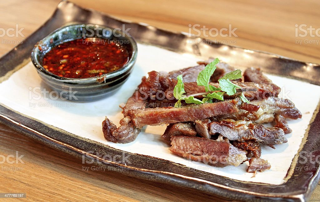 Thai style Grilled marinated pork royalty-free stock photo