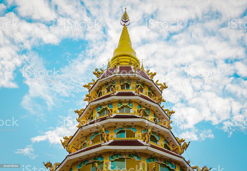 Thai style pagoda of Wat Huay Pla Kung Temple stock photo