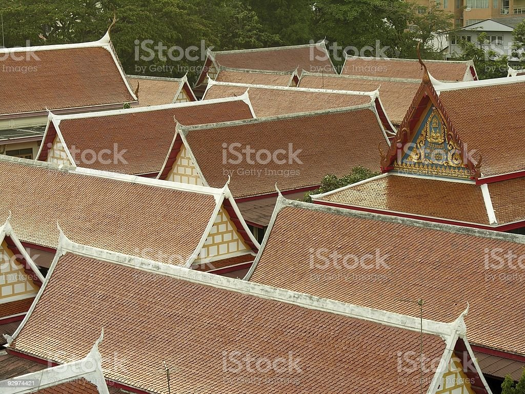 Thai style roofs stock photo