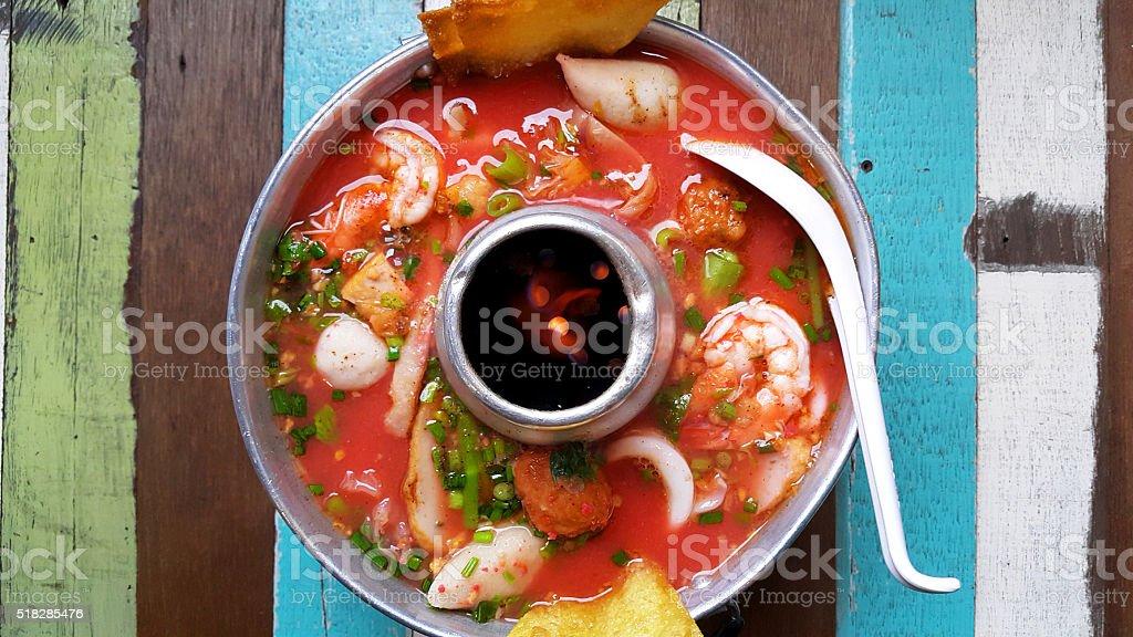 Thai style seafood Yentafo hot pot stock photo