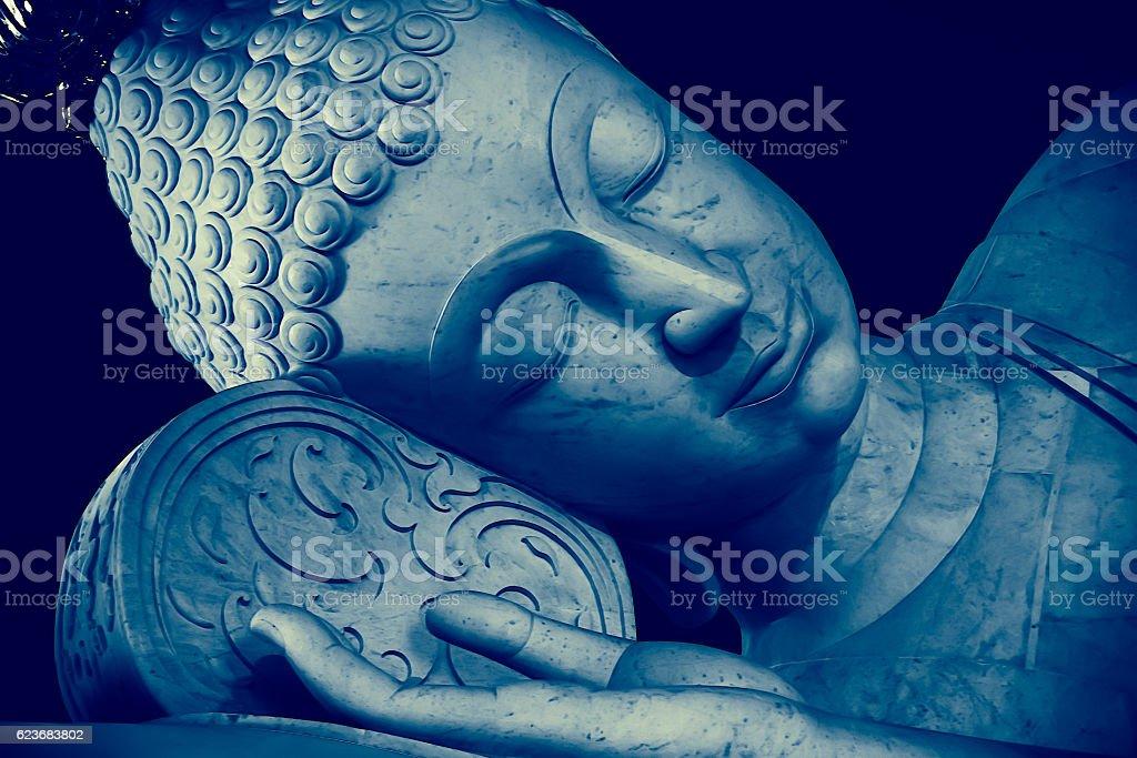 Thai Style Sleeping Buddha face painting art effect – Foto