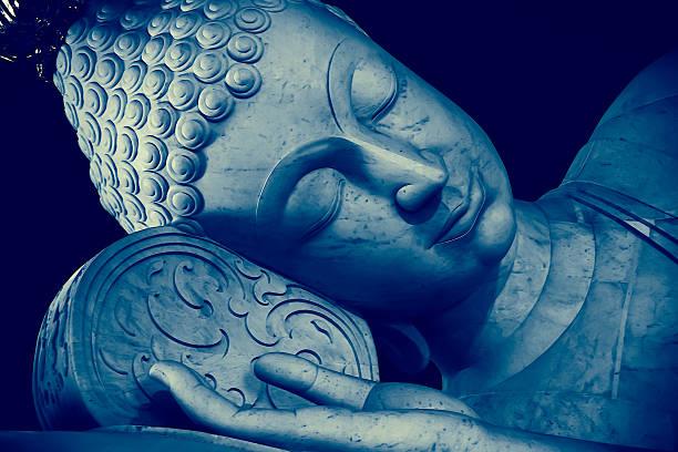 thai style sleeping buddha face painting art effect - sleeping illustration stockfoto's en -beelden
