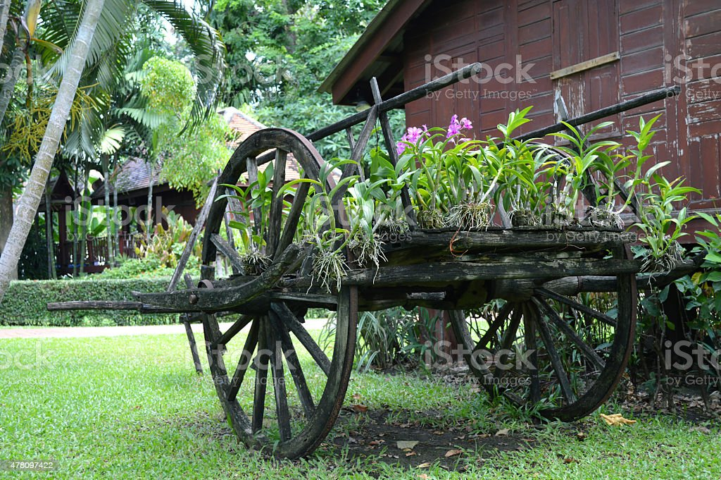 Thai style wooden cart stock photo