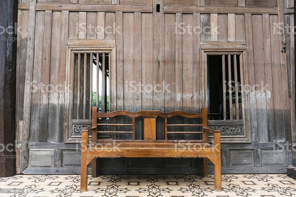 Thai style wooden table royalty-free stock photo