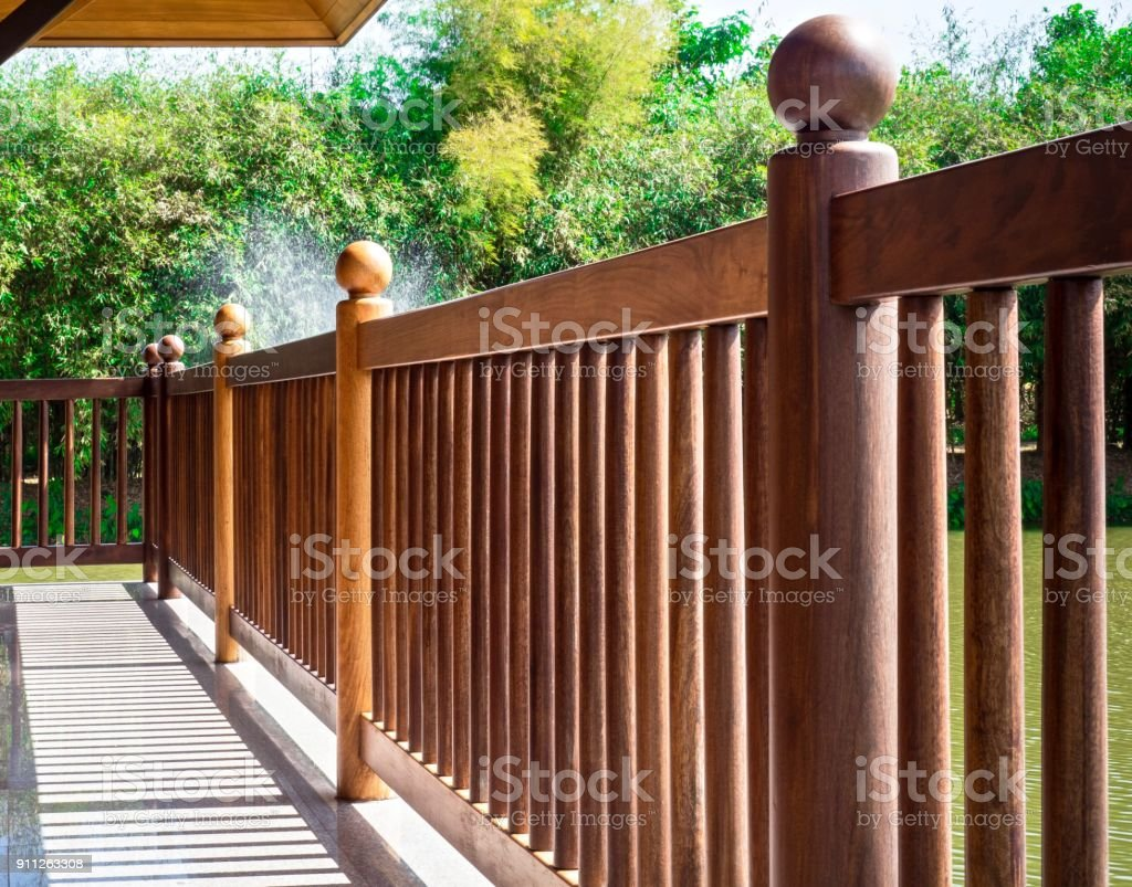 Thai Styled Teak Wood Bannister Stock Photo Download Image