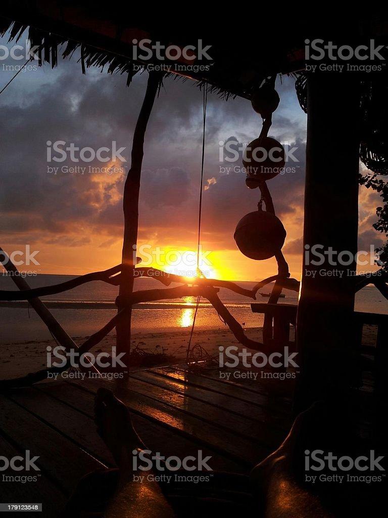 Thai sun set stock photo