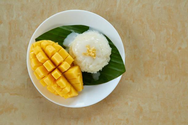 Thai sweet sticky rice with mango stock photo