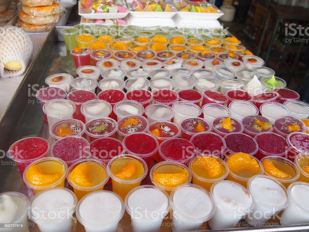 Thai sweets in a traditional Thai Bazaar stock photo