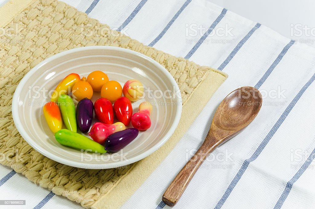 Thai sweets made with a mold shape green beans stock photo