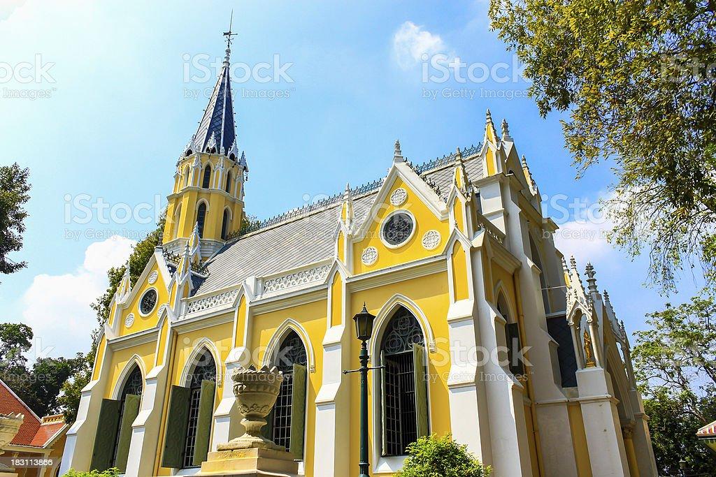 Thai temple built in gothic style, Ayutthaya, Thailand stock photo