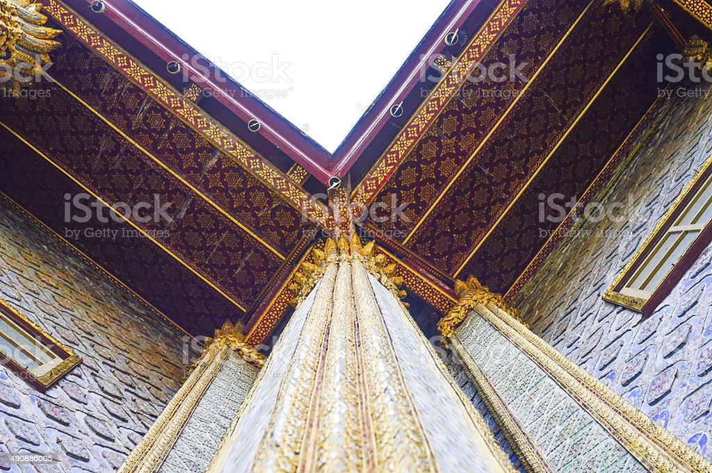 Thai temple columns,another angle from the bottom up stock photo