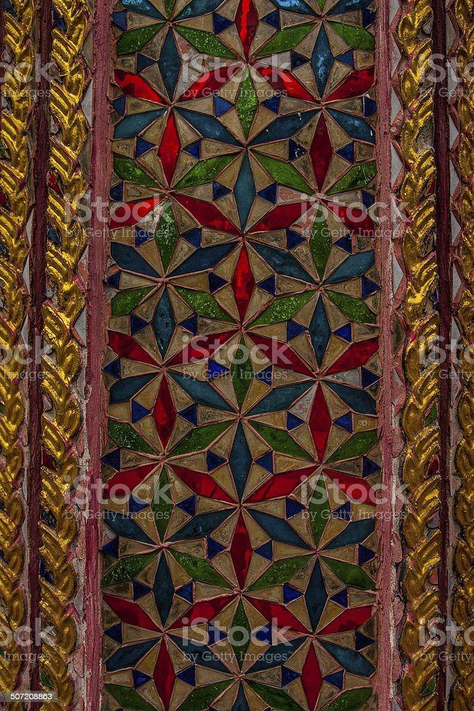 Thai Temple decorated with architectural stained glass. royalty-free stock photo