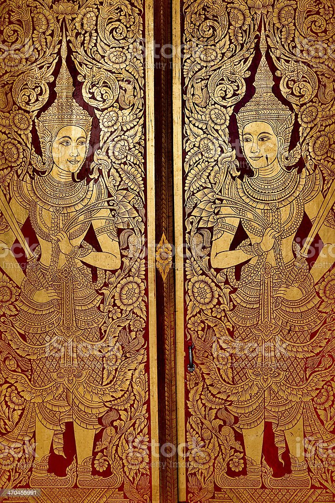 Thai Temple Door royalty-free stock photo