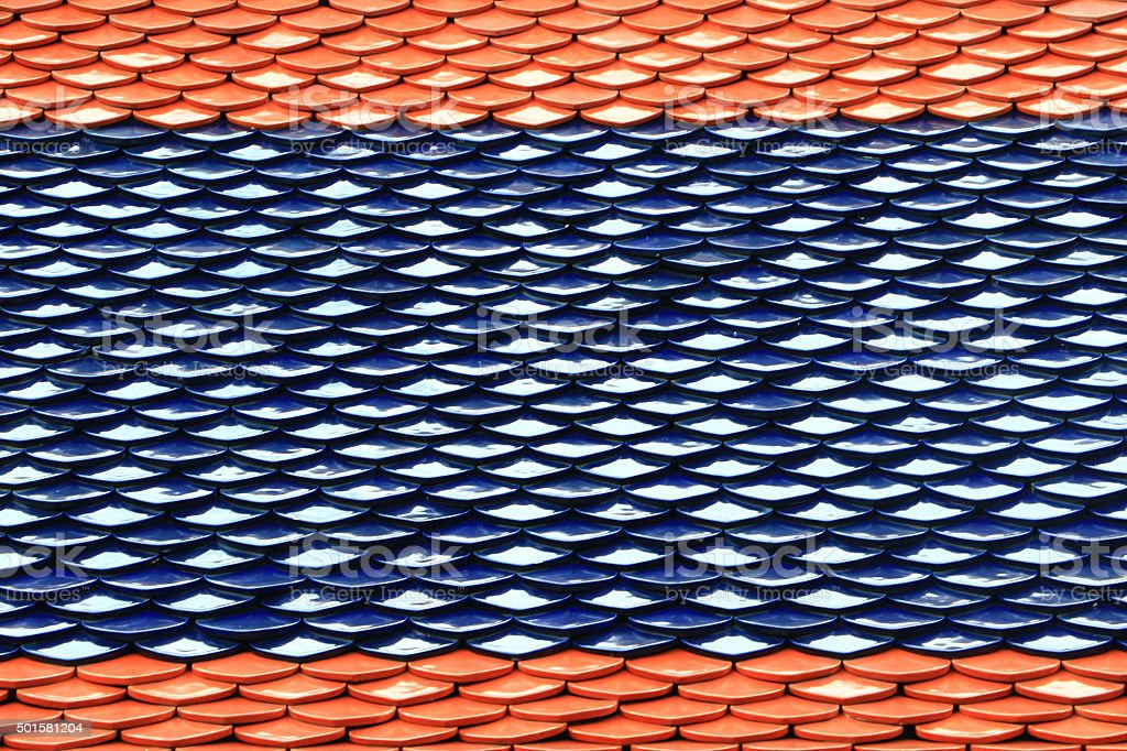 Thai Temple Roof Tile Pattern stock photo