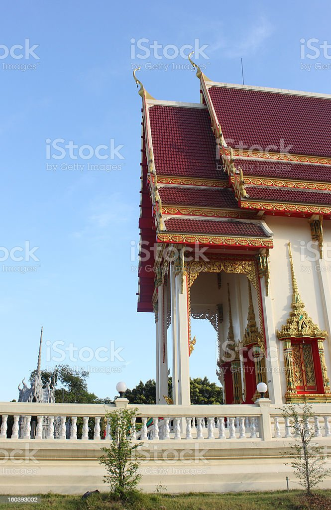Thai temple with blue sky royalty-free stock photo