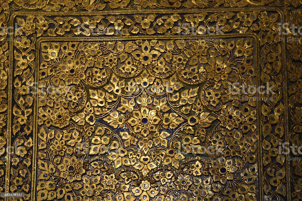 Thai texture at Wat pho, Bangkok, Thailand stock photo