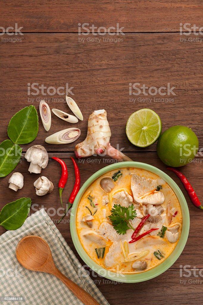 Thai tom kha gai soup stock photo