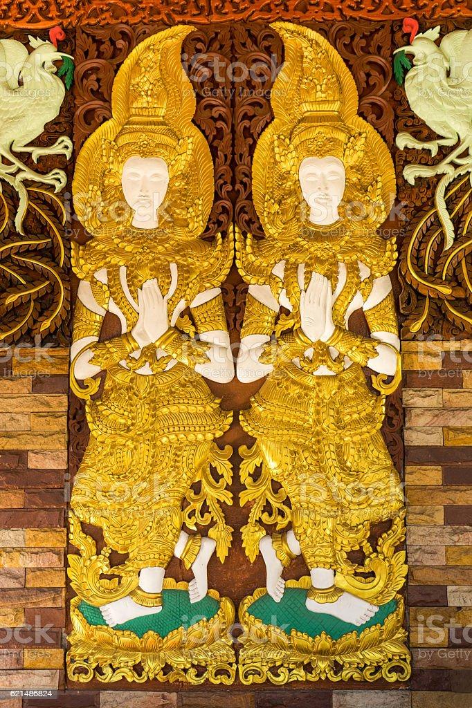 Thai traditional carved goddess. Lizenzfreies stock-foto