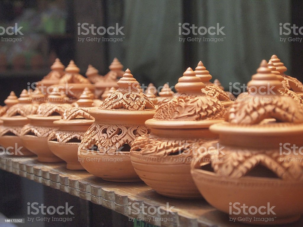 Thai traditional clay pottery in ko Kret island, thailand stock photo